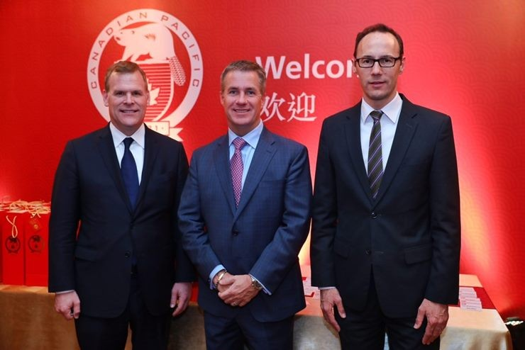 CP Board Director, the Hon. John Baird (left) joins Consul General of Canada in Shanghai, Mr. Weldon Epp, (right) and CP's President and CEO, Mr. Keith Creel (middle) for the grand opening of CP's new office in Shanghai