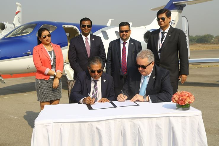 Honda Aircraft Company and Arrow Aircraft sign authorized sales representative agreement at Wings India in Hyderabad, India on March 8th, 2018.
