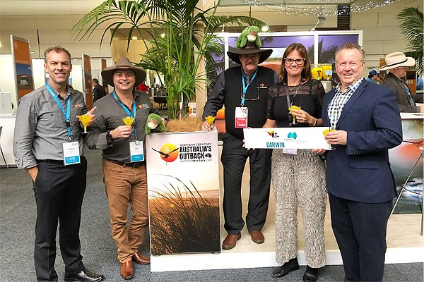 Left to right: Andrew Hopper Tourism NT, Tony Quarmby, TNT, Wayne Thompson, ATG/ATEC NT Chair, Suzanne Morgan, Minister's Office, Peter Shelley.