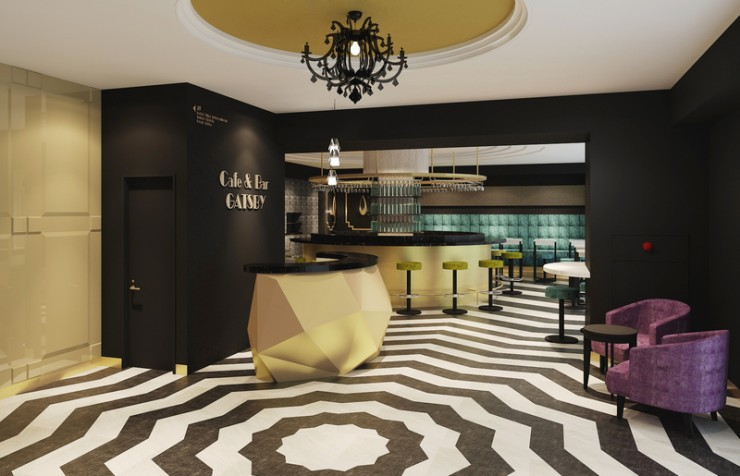 """Sub-front"" lobby and Cafe & Bar GATSBY on the first floor"