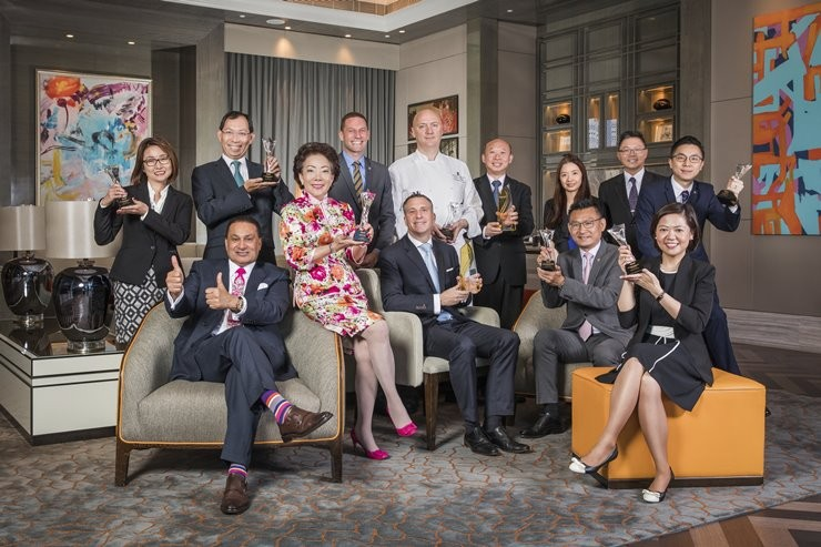 "The team celebrates multiple wins for JW Marriott Hotel Macau and The Ritz-Carlton, Macau in the 2017 ""Awards by Marriott International"""