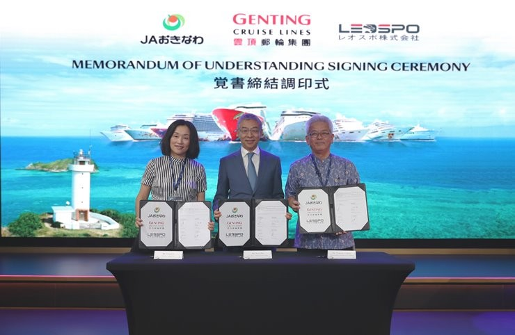 (From left) Ms. Ling Lin, Director of Leospo Inc; Mr. Kent Zhu, President of Genting Cruise Lines and Mr. Tsutomu Oshiro, Representative President of JA Okinawa signed the Memorandum of Understanding on 10 August 2018