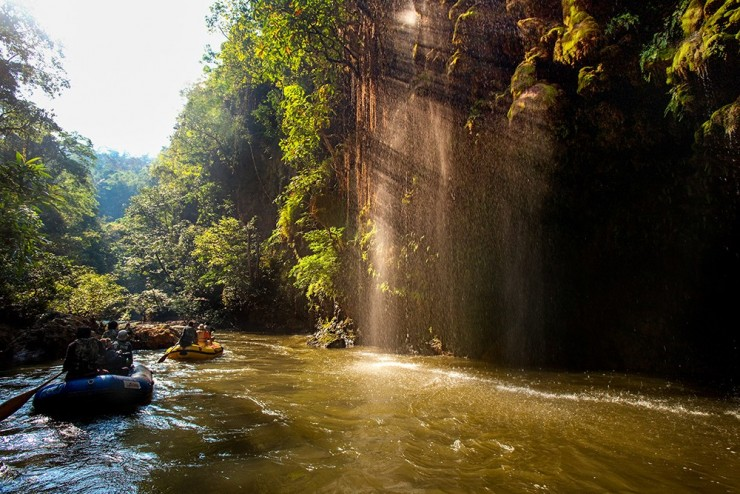 Rafting at Thi Lo Cho Waterfall or Namtok Saifon. It's located in Umphang Wildlife Sanctuary, Tak