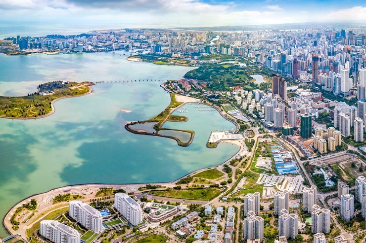 Aerial view of Haikou, the capital of Hainan province, China
