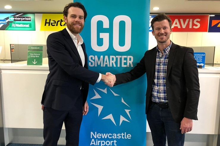 Newcastle Airport Commercial Manager Jake Farrell and VroomVroomVroom Partnerships Manager Jordan Hooper