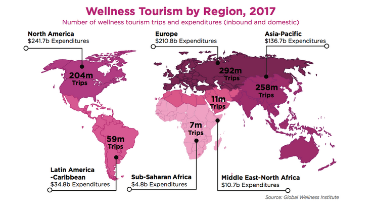 Wellness Tourism by Region 2017