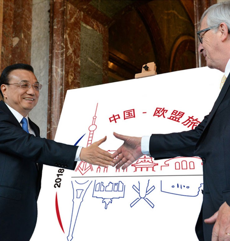 Chinese premier Li Keqiang and European Commission president Jean-Claude Juncker