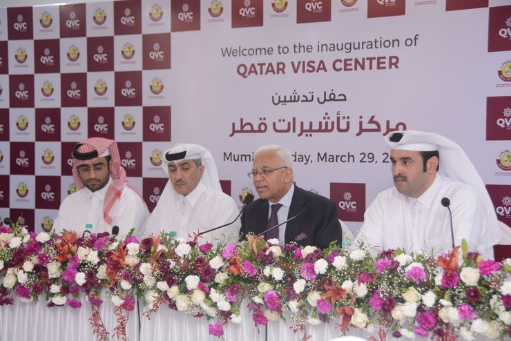 L-R: His Excellency Mohammed Adbulwahed Mohamamed Hussain Al Obaidly, Assistant Director of International Labour Relations Dept. - H.E. Saif Bin Ali Al Mohannadi, Consul General of the Consulate General of the State of Qatar, Mumbai - H.E. Sanjiv Arora, Secretary (CPV & OIA) Ministry of External Affairs, Republic of India - His Excellency Major Abdullah Khalifa Al Mohannadi, Director of Visa Support Services Dept at the Ministry of the Interior, Doha, Qatar