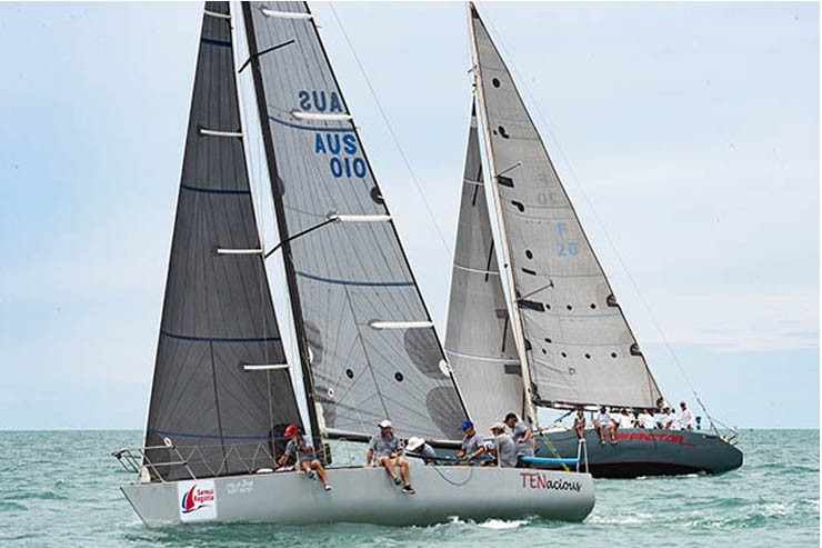 Tenacious and Prime Factor enjoying close racing on-the-water. Samui Regatta 2019.