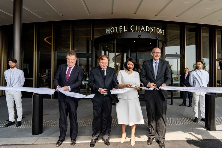 L-to-R: Vicinity Centres CEO and Managing Director Grant Kelley; Mr John Gandel AC; Victorian Minister for Suburban Development, The Hon. Marlene Kairouz MP; Chairman & CEO, Accor Asia Pacific, Michael Issenberg.