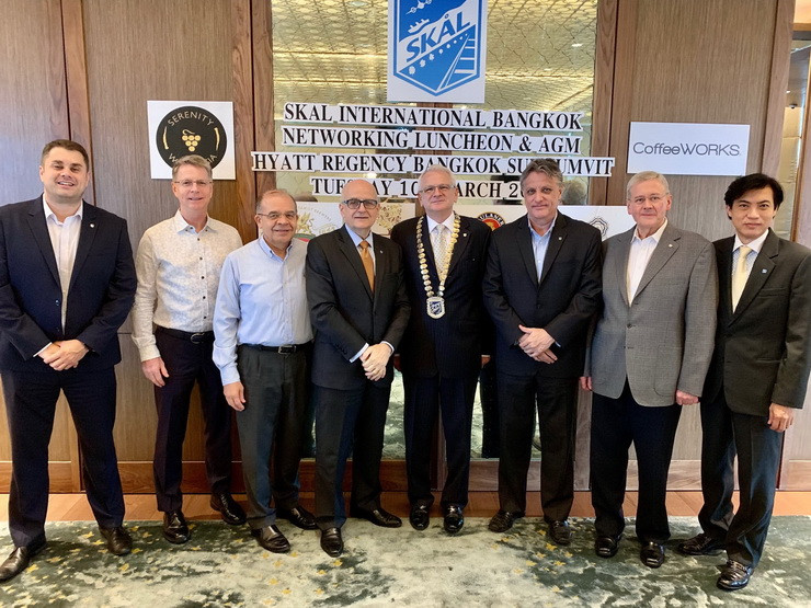 Members of the Skål International Bangkok executive committee 2020-22 Pictured L-R James Thurlby, Peter Baines, Andres Rubio, Tom Sorensen, President Andrew J Wood, Marvin Bemand, Michael Bamberg, Pichai Visutriratana and not pictured Dr Scott Smith and Eric Hallin.