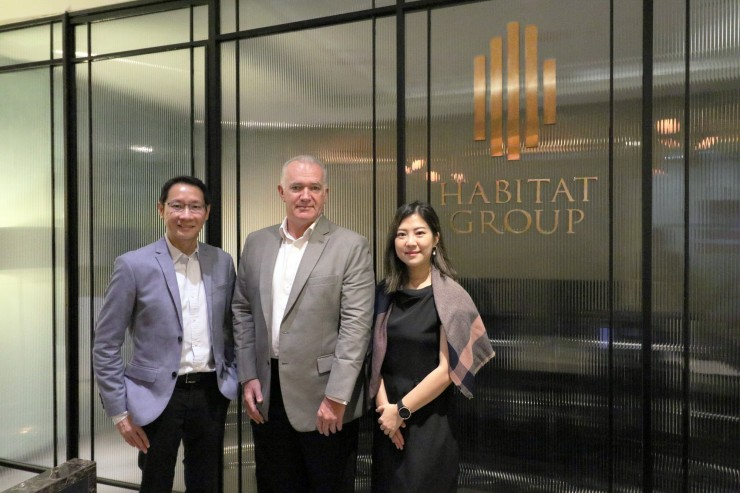 From left: Mr. Chanin Vanijwongse, CEO of Habitat Group; Mr. Peter Lucas, Managing Director of Habitat Hospitality; Mrs. Sasivimol Sutthibut, Chief Operating Officer of Habitat Group.