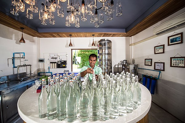 "Six Senses Yao Noi produces drinking water on site to be more environmentally conscious and to create public awareness of ""food-miles""."