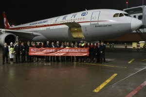 Sichuan Airlines' crew and deputy CEO Mr. Li Guang greeted upon arrival.