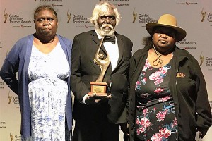 Kakadu National Park traditional owners Bessie Coleman, Michael Bangalang and Maria Lee in Perth at the Australian Tourism Awards.