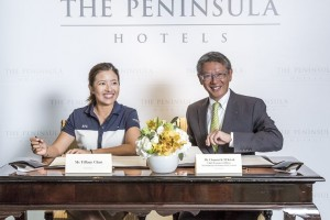 Mr Clement Kwok (Right), CEO of The Hongkong and Shanghai Hotels, with Ms Tiffany Chan (Left) at The Peninsula Hong Kong (Photo Credit: Chris Lusher)