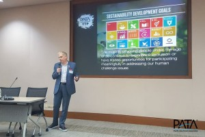 PATA CEO Dr. Mario Hardy discussing the challenges and opportunities for youth in addressing the UN SDGs.
