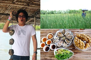 Enjoy fresh oyster with local sauce and Long Kong, delicious local fruit.