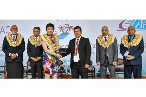 Present with Dr. Fang Liu the APAC 55TH DGCA host State representative Mr. Sharvada Sharma, Solicitor-General and Permanent Secretary for Civil Aviation Fiji (2nd from left), Mr. Arun Mishra, Regional Director ICAO APAC Regional Office (2nd from right) and Mr. Ajai Kumar, Acting Chief Executive, Civil Aviation Authority Fiji (far right) and Fiji's Chief of Nadi, Mr. Vuniyani Navuniuci Dawai (far left).