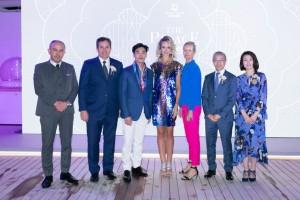 (From left) Dream Cruises' Palace Director, Mr. Ural Korkmaz; President, Mr. Thatcher Brown; Genting Cruise Lines' Executive Vice President (New Ships Design), Mr. Loui Lim; British model, socialite and aristocrat, Lady Victoria Hervey; renowned fashion industry authority and celebrity stylist, Noni Ware; Genting Cruise Lines' President, Mr. Kent Zhu; and, Senior Vice President, Head of Marketing & Communications, Marketing Ms Christine Li, at the private event for launch of The Palace's new privileges.