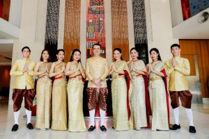 Thirayuth Chirathivat, CEO of Centara Hotels & Resorts, together with Centara staff in beautiful traditional Thai costumes, prepare to welcome guests during Songkran