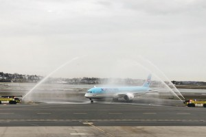 Boston Logan International Airport welcomes Korean Air flight KE 91 to the salute of water cannons.