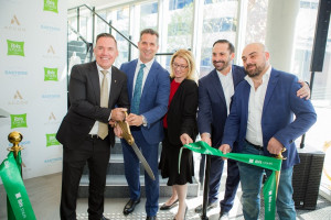 The ribbon-cutting ceremony with Simon  McGrath, COO Accor Pacific; Hon Paul Papalia Minister for Tourism (WA);  Hon Rita Saffioti, Minister for Transport and Planning (WA); and  Phil Re and Victor Hawkins of Rehawk Property Group
