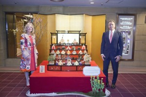 "Mark Frissora, President and Chief Executive Officer and Jan Jones Blackhurst, Executive Vice President, Public Policy & Corporate Responsibility, discuss Caesars 2025 Gender Equality Initiative in front of the ""Hina"" Dolls displayed at the Imperial Hotel in Tokyo on February 27. These ornamental dolls in traditional Japanese court dress are the main symbol for ""Girl's Day-Hina Matsuri"" – an annual celebration on March 3 to appreciate and pray for girl's health and happiness."