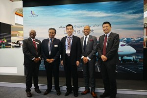 Zhou Jinshan, Vice President of maintenance, Deer Jet (Middle) and Frank Fang, Vice President of Branding, Deer Jet (First from Right) with seniors from Honeywell Aerospace Asia Pacific.