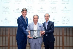 From left: The Sukhothai Shanghai General Manager Marcel Holman, Small Luxury Hotels of the World  CEO Filip Boyen, and The Sukhothai Shanghai Executive Vice President Operations Ivan Lee