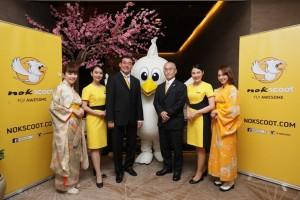 Mr. Yodchai Sudhidhanakul (third left), CEO of NokScoot and Mr. Eigo Onuma (third right), Executive Director of Japan National Tourism Organization (JNTO) – Bangkok office, mark the official launch of NokScoot's Bangkok-Narita (Tokyo) route