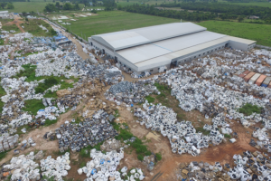 Drone shot of Wai Mei Dat grounds sprawling with imported e-Wastes in Super Sacks. Photo Copyright The Nation, Thailand Portal. May 22, 2018