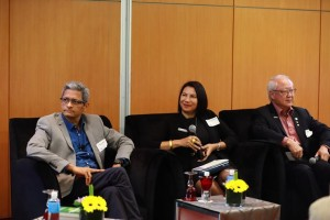 (From left to right) CEO Co-Founder of SigMax-e Services, Srikrishna Vadrevu; the Kuala Lumpur Convention Centre's (the Centre) Director of Sales and Marketing, Angeline van den Broecke; and CEO of AOS Conventions & Events, Amos Wong, driving the conversation with participants during the PCMA-ICESAP Knowledge Exchange Kuala Lumpur, held at the Centre recently