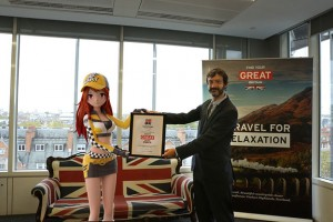 VisitBritain's Tim Holt awarding Little Mandarin Good Will Ambassador certificate