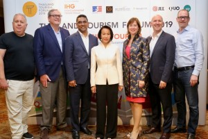 From Left: Mr. Bill Barnett, Managing Director C9 Hotelworks; Mr. Charles Blocker, CEO of IC Partners; Mr. Shantha de Silva, Head of Resorts and Thailand & Indonesia, InterContinental Group; Ms. Supaluck Umpujh, Chairwoman of The Mall Group Co., Ltd; Ms. Heidi Gallant, Executive Director of The American Chamber of Commerce in Thailand; Mr. David Johnson, CEO of Delivering Asia Communications; Mr. Jesper Palmqvist, Area Director for Asia Pacific of STR.