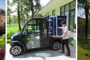 L-to-R: Radisson Blu Bali Uluwatu uses straws made from corn-starch; Radisson Blu Resort Phu Quoc's housekeeping staff commutes within the resort using an electric mini truck; Radisson Blu Resort Phu Quoc is the first international hotel in Vietnam to set up an onsite bamboo farm and produces its own bamboo straws.