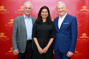 From left to right: John Stewart, Founder and Chairman, Karina Stewart, Founder and Chief Wellness Director, and Bruce Ryde, General Manager and Brand Strategist, Kamalaya
